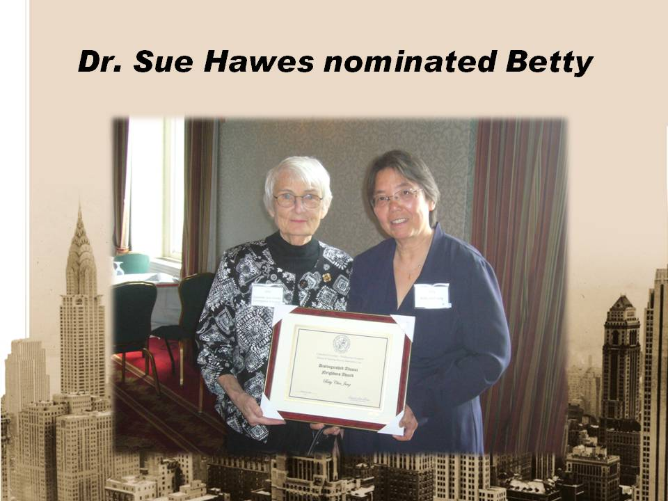 Betty gets Columbia University School of Nursing Distinguish Alumni Neighbors Award!