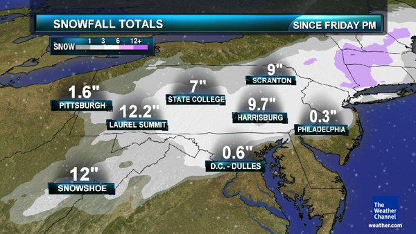 Historic 2011 Nor'easter snow totals
