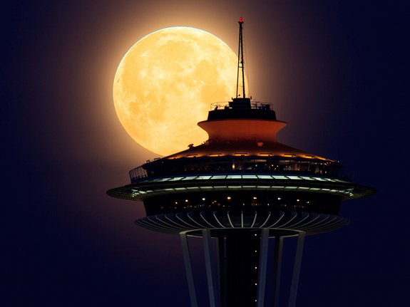 Supermoon and the Space Needle