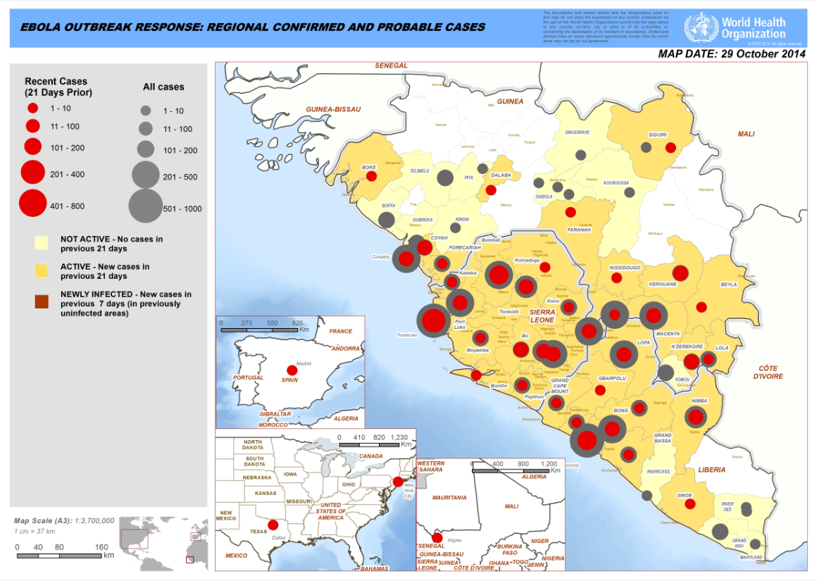 WHO 10/20/14 Ebola Outbreak Map