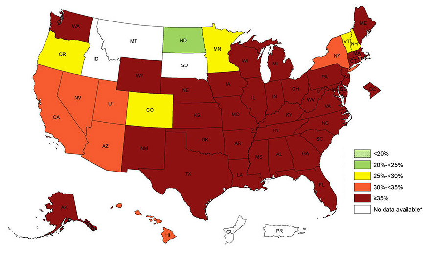 N Obesity Betty C - Gout prevalence map us