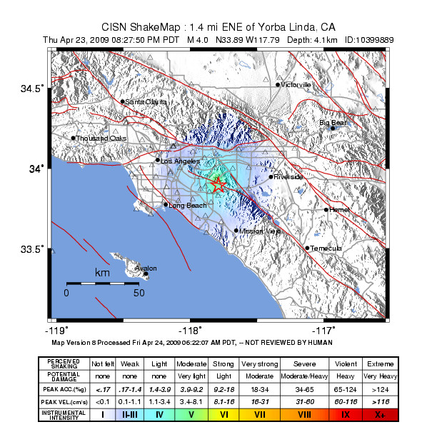 USGS Intensity Map of Southern CA