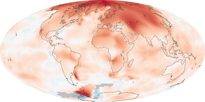 NASA�s Goddard Institute for Space Studies (GISS), temperature anomalies, or changes, 2000-2009