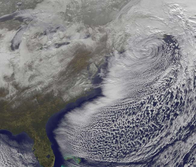 2010 Northeast snowstorm from space